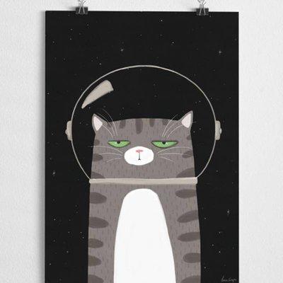 A Grape Design poster Space Katze
