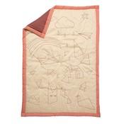 Fabelab crib blanket storytelling peach / red