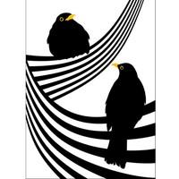 Lina Johansson design Plakat zwei Amseln auf einer Linie