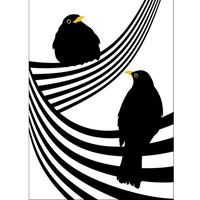 Lina Johansson design poster two blackbirds on a line
