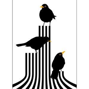 Lina Johansson design Plakat drei Amseln auf der Bühne