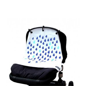 Kurtis blauwe druppels gordijn voor kinderwagen en autostoel