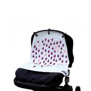 Kurtis paarse druppels gordijn voor kinderwagen en autostoel
