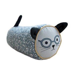 Frank & Poppy petrol/grey cushion Mr Cat