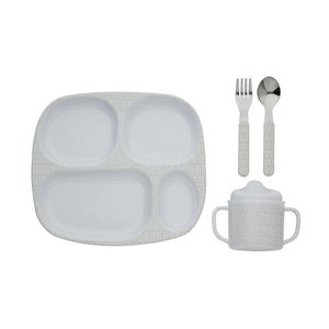 Filibabba melamine vakjes kinderservies set indian warm grey