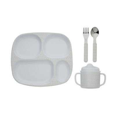 Filibabba melamine vakjes kinderservies set indianwarm grey