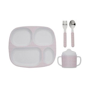 Filibabba melamine vakjes kinderservies set indian dusty rose