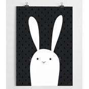 A Grape Design Schwarz/Weiß Poster Kaninchen