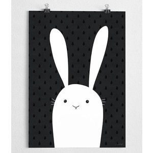 A Grape Design black/white poster rabbit