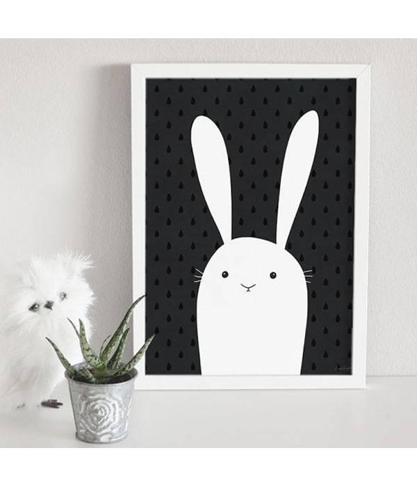 schwarz wei poster kaninchen scandinavi xs. Black Bedroom Furniture Sets. Home Design Ideas