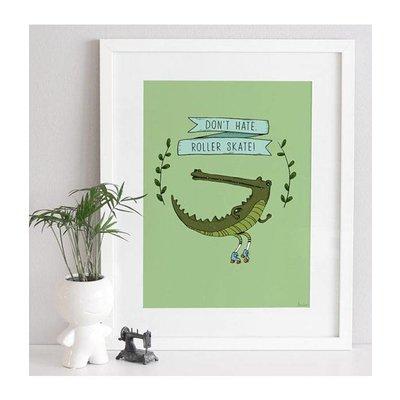 A Grape Design poster crocodile on rollerskates