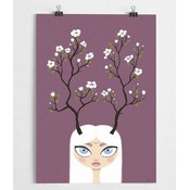 A Grape Design poster girl with flower antlers