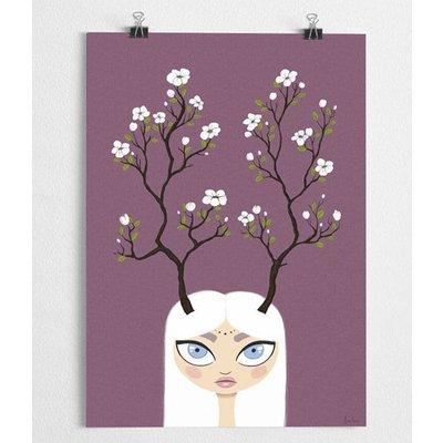 A Grape Design poster A Grape Design meisje met gewei en bloemen