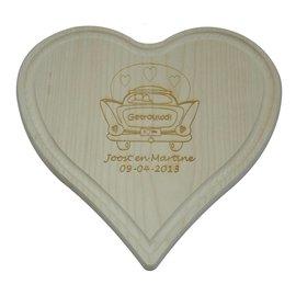 Houten hart met groef, 24x24cm
