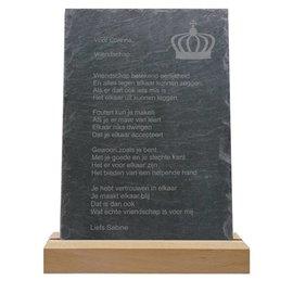Leisteen met houten standaard, 20x30cm