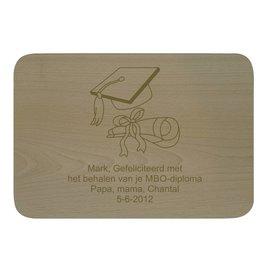 Houten bord, rechthoekig, liggend, 32x22cm