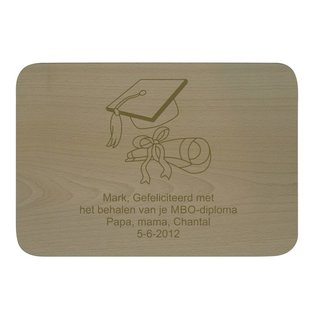 Houten bord, rechthoekig 32x22x1,4cm