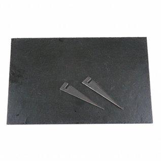 Leisteen met plexiglashouders, 25x40x0,6cm