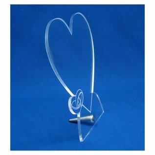 Plexiglas met RVS houder, hart met 2 ringen 20x20x0,5cm