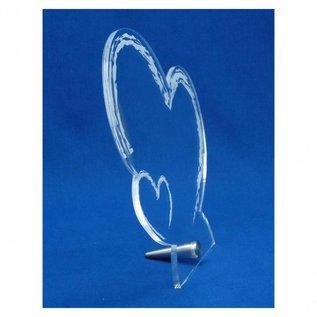 Plexiglas met RVS houder, hart met klein hart, ruw 19,5x20,0x0,5cm