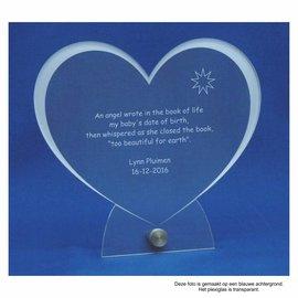 Plexiglas met RVS houder en groot hart, 20,0x18,5cm