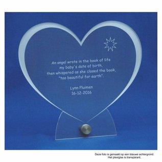 Plexiglas met RVS houder en groot hart 20,0x18,5x0,5cm