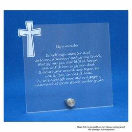 Plexiglas met RVS houder en kruis, 17,8x17,0cm