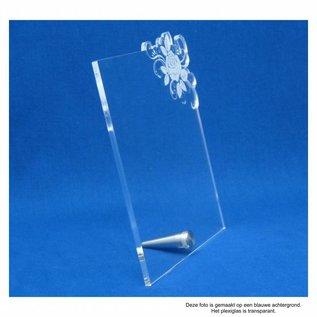 Plexiglas met RVS houder en kruis, 16,5x18,0x0,5cm