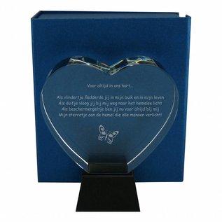 Glazen hart op zwarte glazen sokkel, 143x160x68mm, incl. geschenkdoos