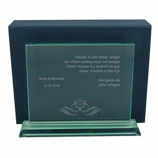 Zware rechthoekige glazen award, 290x225x15mm, incl. geschenkdoos