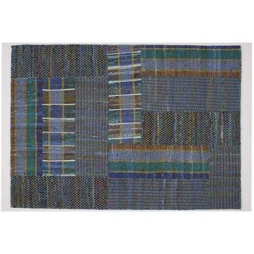 Suri - blauw vloerkleed - Handgemaakt -