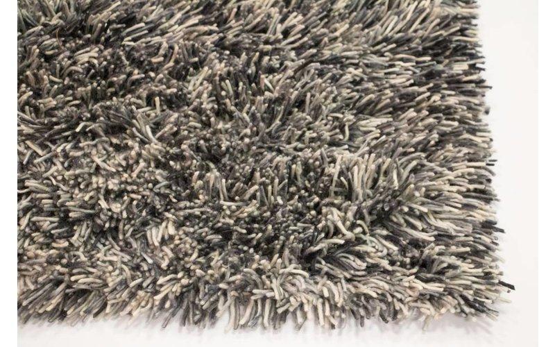 Prachtig hoogpolig wollen vloerkleed met grijs-blauwe garen samenstelling
