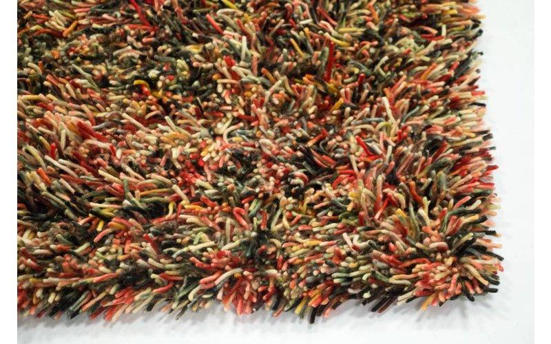 Prachtig hoogpolig wollen vloerkleed in multi-kleurstelling