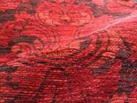 Patchwork vloerkleed met prachtig bloemendessin in het rood