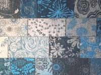 Patchwork vloerkleed met prachtig bloemendessin in het blauw