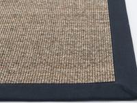 Premium 16 - Prachtig sisal vloerkleed in Naturel met Donkerblauwe band