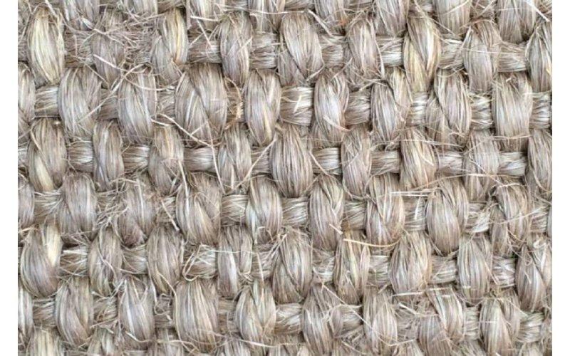 Prachtig sisal vloerkleed in het zilvergrijs met taupe band