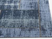 Prachtig vintage vloerkleed met donkerblauwe garen