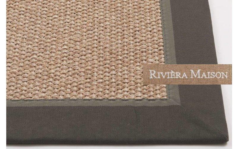 Naturel-Grijs Sisal vloerkleed met donkergrijze band van Rivièra Maison