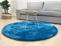 Ross 33 - Rond hoogpolig vloerkleed in blauwe kleursamenstelling