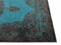 Prachtig vintage vloerkleed in zwart-blauw kleurstelling
