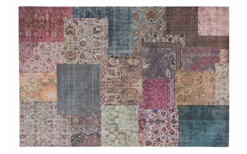 Flint 98 - Kleurrijk vloerkleed met patchwork structuren in Multi kleurstelling