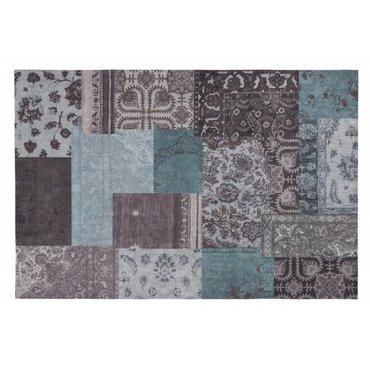 Vintage patchwork vloerkleed in deepsea kleuren
