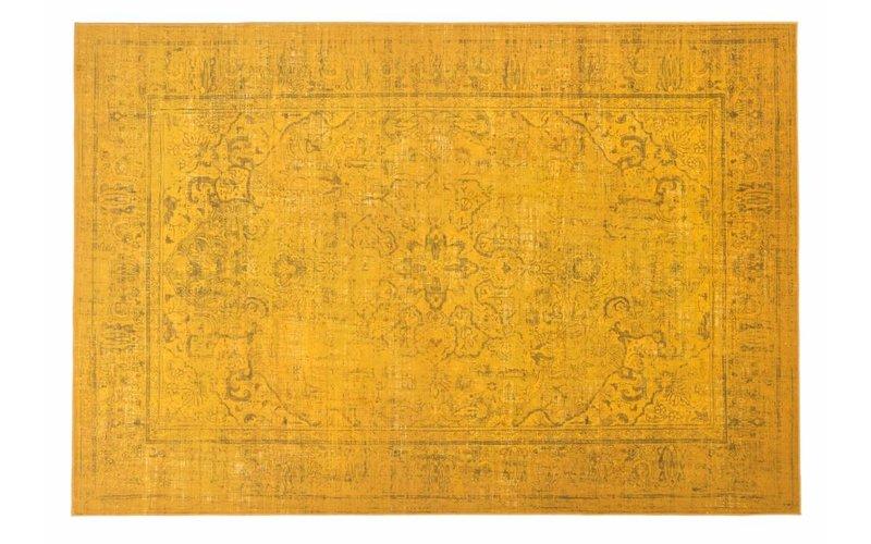 Prachtig vintage vloerkleed met oosters dessin in gele kleurstelling
