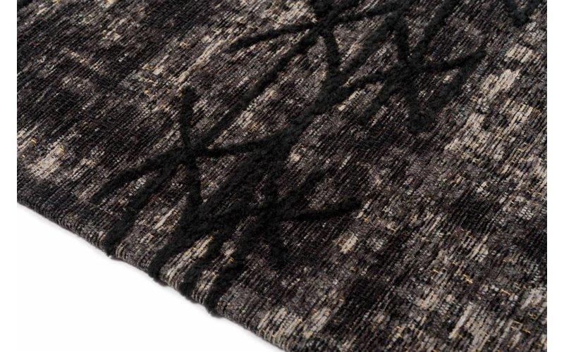 Geweven vloerkleed met modern design in zwarte kleurstelling