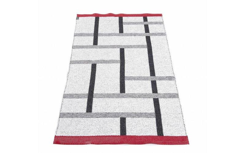 Black & White (Red) - Uniek buiten vloerkleed