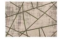 Hailey 52 - Prachtig geometrisch vloerkleed in steengrijze en parelmoer donkergroene kleursamenstelling