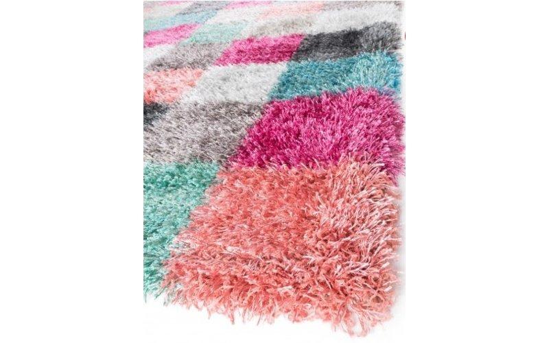 Hoogpolig vloerkleed in regenboog kleuren