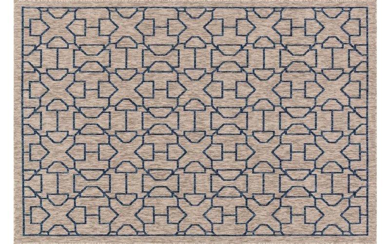 Geometrisch vloerkleed in blauw met bruine kleurstelling