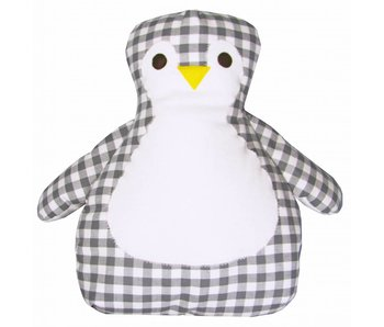 izzybizzybee® Kuschelkissen Pinguin Checkers - grau